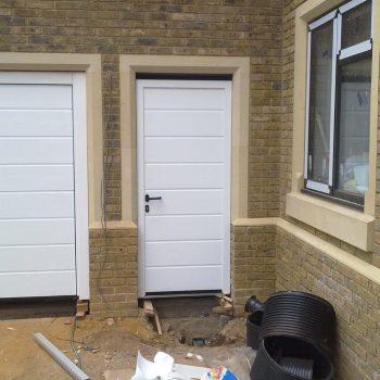 White Sectional Garage Door, With White Side Door